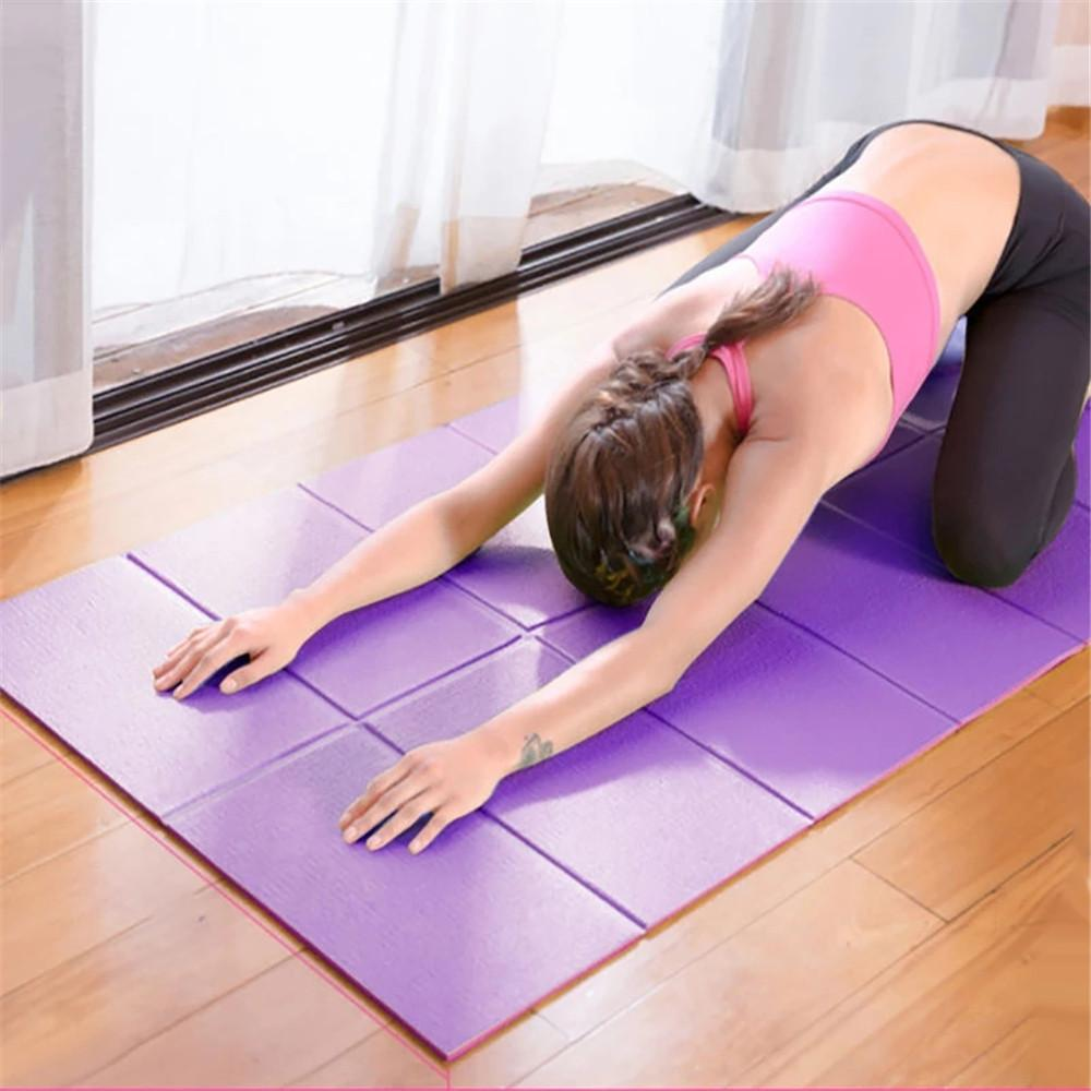 PVC طوي مبطن مربع البلاط اليوغا حصيرة 1730 * 610 * 3 ملليمتر الرياضة ftness عدم الانزلاق حصيرة للطي رياضة اللياقة البدنية وسادة بيلاتيس الإمدادات