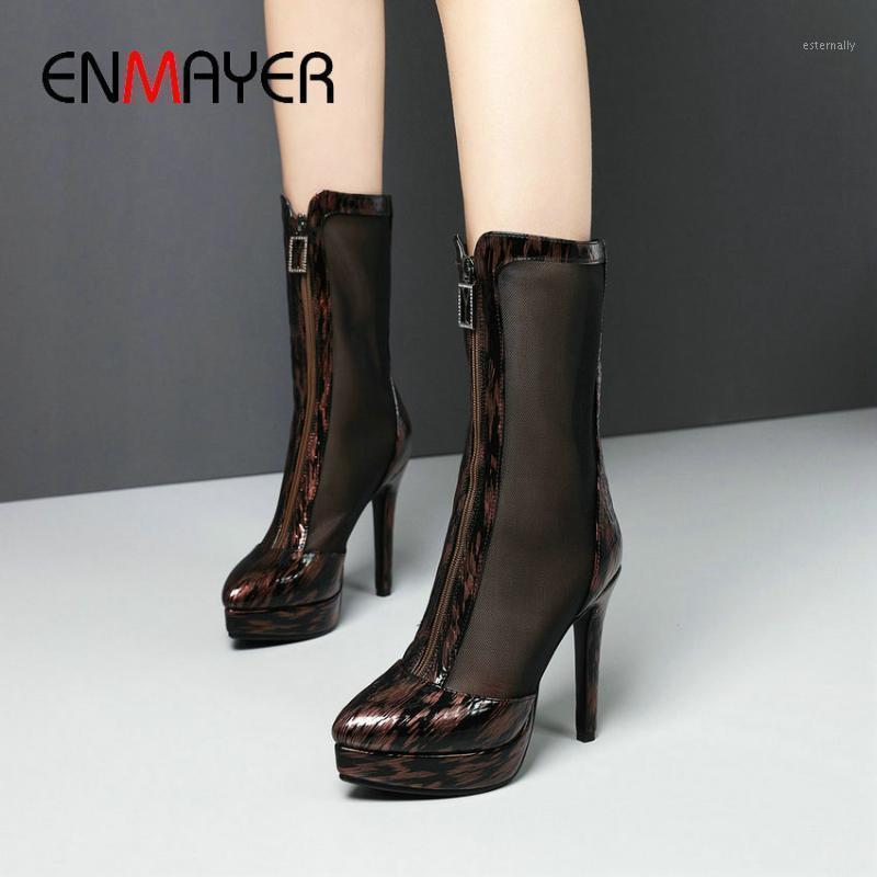 Enmayer Kadın Çizmeler Zip Orta Buzağı Çizmeler Temel Mesh (Hava Mesh) PU 2020 Ince Topuklu Yuvarlak Patchwork Bahar / Sonbahar Kadın Ayakkabı1