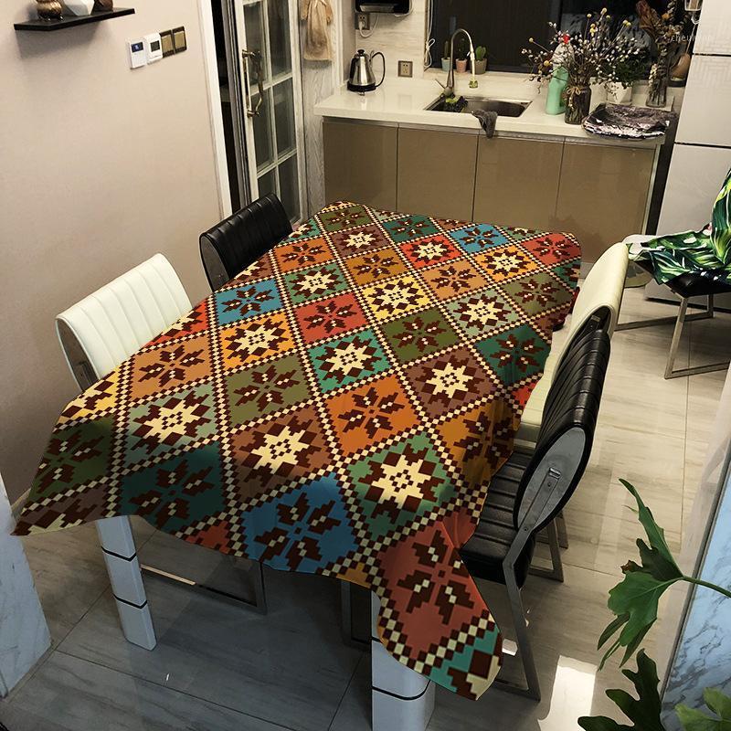 Nordic Digital Impressão Toalha de Tablecloth Tabela Impermeável Tabela de Tabela Retangular Tabela de Tabela de Televisão TV Mesa de Café Sala de estar1