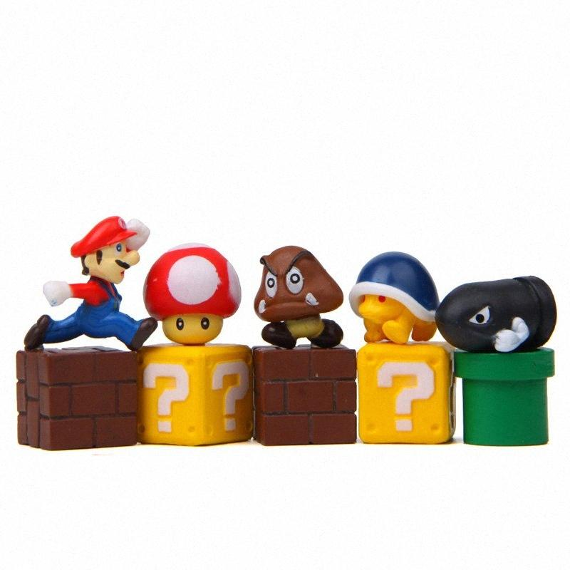 08.04 / 10er Mario Magnet Sets für Kühlschrank DIY-Cartoon-Charakter Kombination Familie Dekoration 3D Super Mario Kühlschrankmagnet 2ZxG #