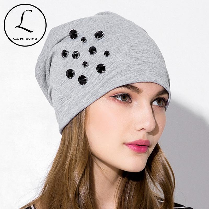 mulheres GZHILOVINGL 2020 Outono Primavera Causal de algodão largas strass Gorros Chapéus de Inverno Mulheres Skullies Gorros Hat Gorros femme