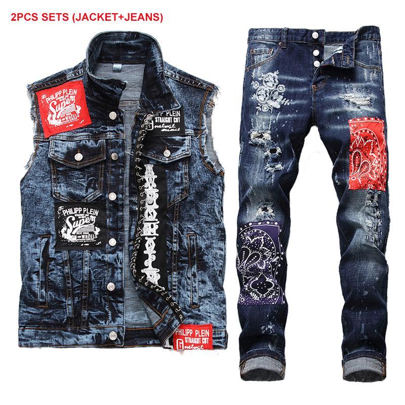 2020 새로운 패션 남성 세트 새로운 스트레치 패치 데님 조끼와 청바지 두 조각 세트 남성 블루 버튼 장식 조끼 + 구멍 청바지 남성 Clothi