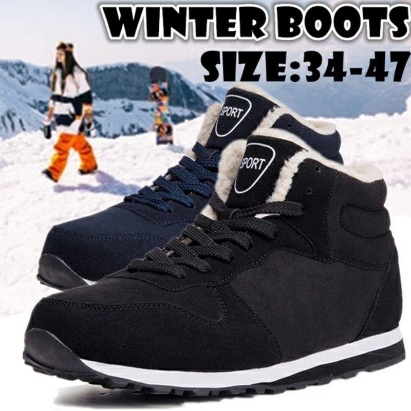 Мужская мода Snow Плюс Размер кроссовки голеностопного Мужчины Обувь Зимние сапоги Черный Синий Обувь