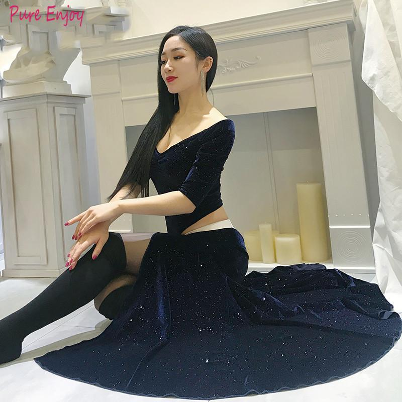 Women Belly dance 2020 autumn and winter velvet new suit stage performance clothing jumpsuit long skirt exercise clothes