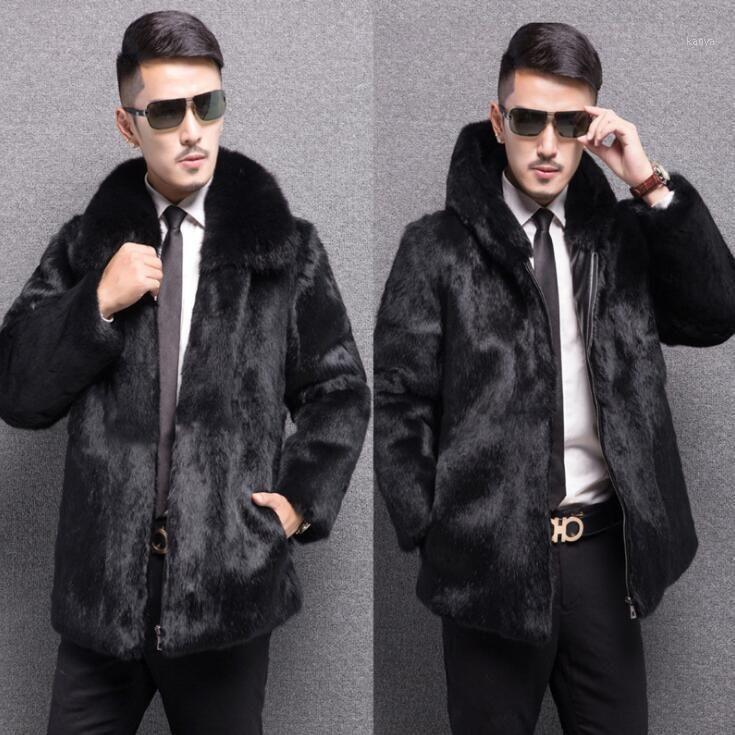 Осень из искусственной норки кожаная куртка мужская зимняя утолщение теплые меховые кожаные пальто мужчины тонкие куртки мода черная молния S - 6xL1