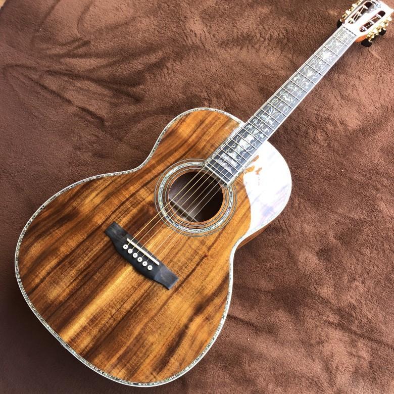 Tastiera in ebano solido chitarra acustica Koa, 40 intarsi pollici Pearl e vincolante KOA chitarra acustica, trasporto libero