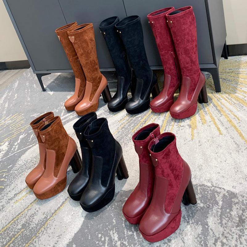 Combate para mujer Forma Martin botas del tobillo Australia floral Tacones Plataforma Botas de invierno Primeros cuero cosido a lo largo de los botines de rodilla