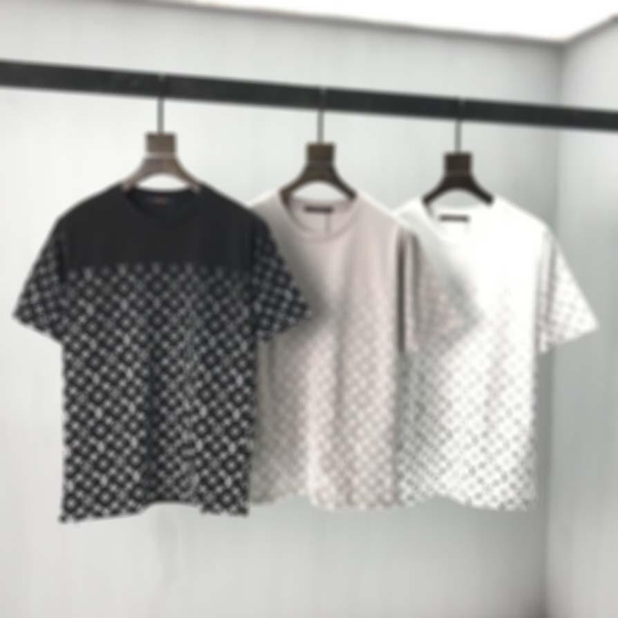 프랑스 최신 봄 여름 파리 그라데이션 편지 티셔츠 패션 후드 남자 여성 캐주얼 코튼 티셔츠