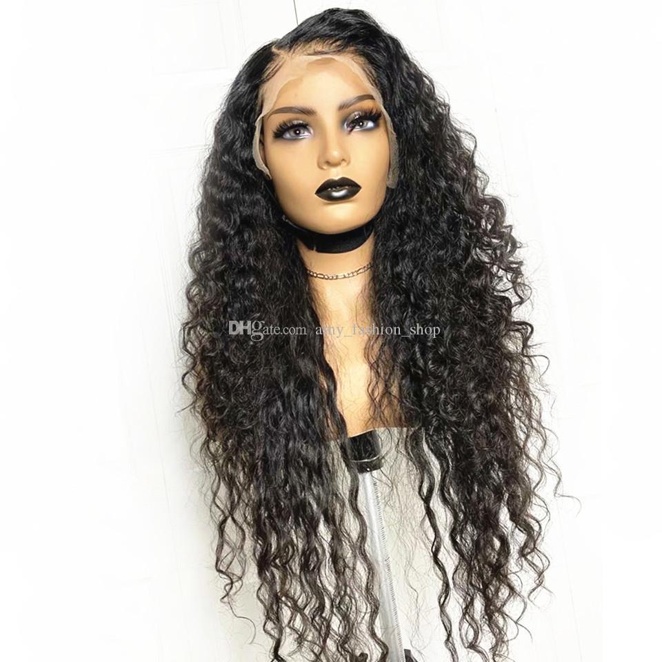 Кудрявые волна человеческих волос Парики 5x5 Silk Top Lace Фронтальная парик 150% Density фронта шнурка человеческих волос Парики индийский завитые парики для женщин