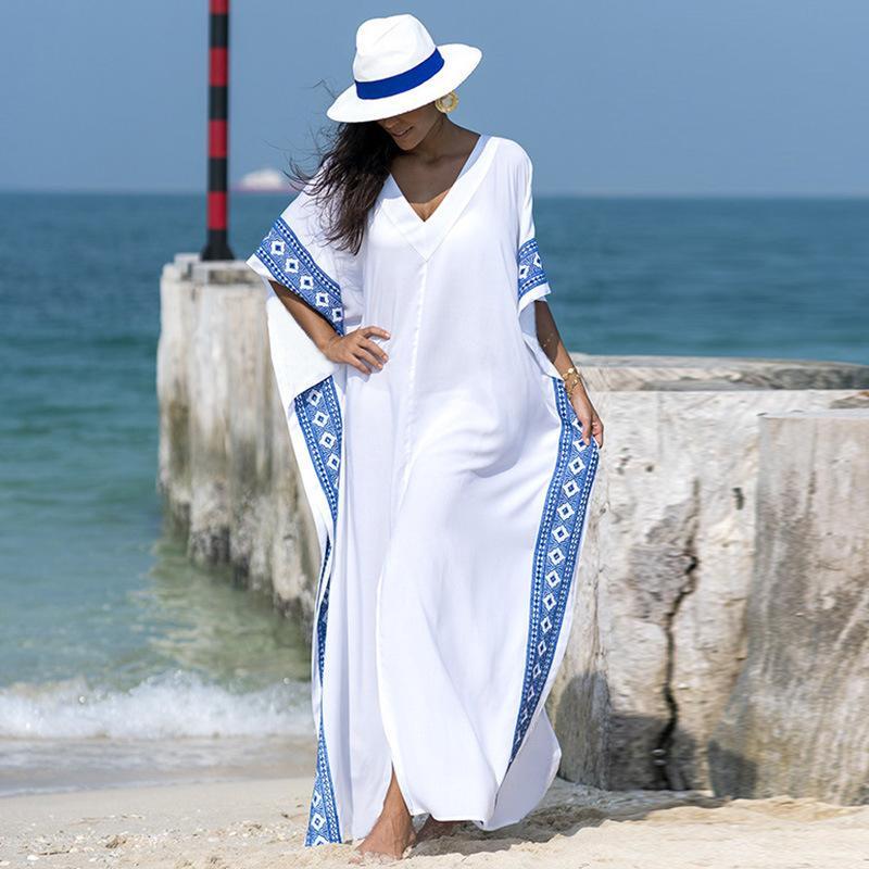 Kaftan Beach Cover Up Удар Лето Женщины Beachwea Туника Негабаритные Бикини Обложка-ИБП ОБОЛЬЗОВАТЕЛЬНЫЙ ОБРАВНИТЕЛЬНЫЙ ОБРАЗЦАТЬ ОБРАЗЦАТЬ САРОГ ПЛЯЖУ ТУНИКА Y200706