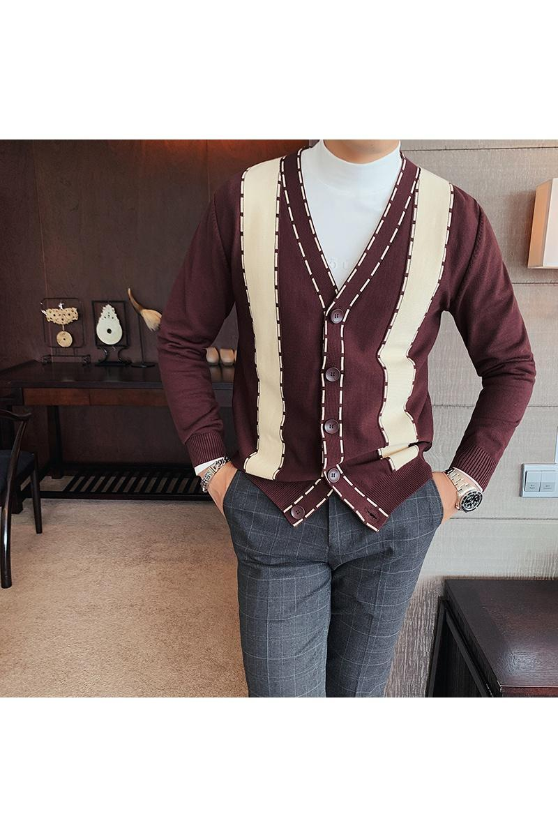 Men's Sweaters Stylish British Retro V-Neck Long-Sleeved Casual Sweater Cardigan Youth Fashion Contrast Color Slim Knitted Base Clothing