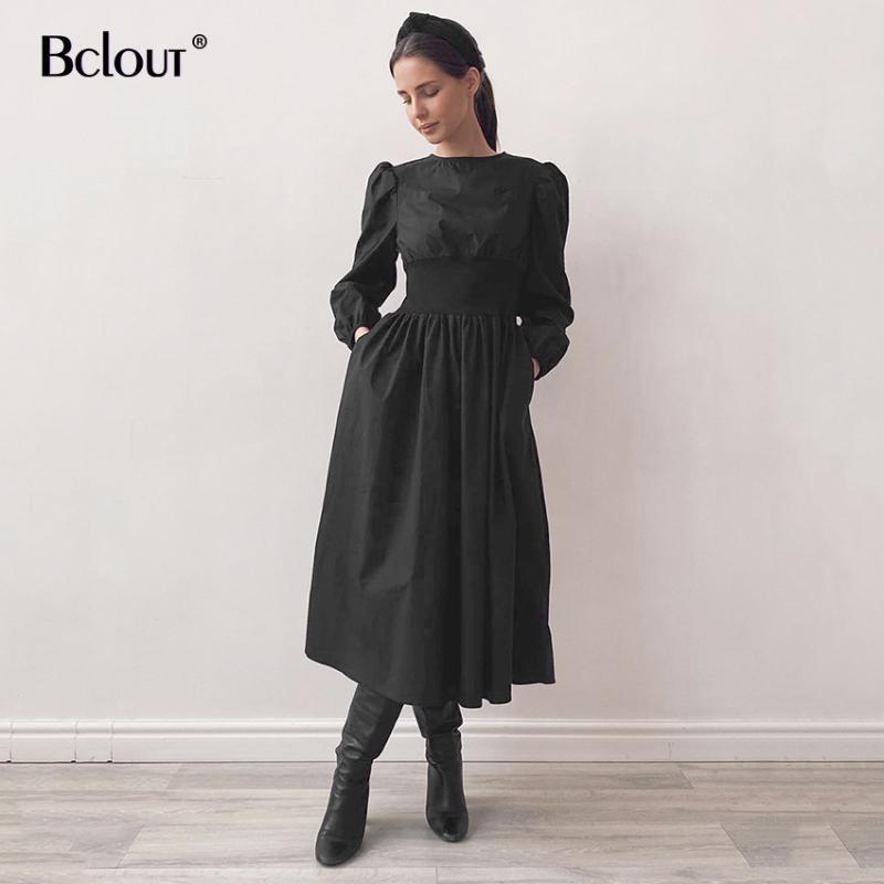 Повседневные платья bclout старинные элегантные высокие талию длинные a-line платье платье женщина 2021 черный сил середины тележки рукав шеи карманный хлопок леди