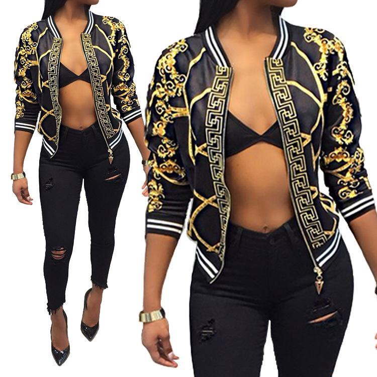 Женщины пальто способ печати на молнию куртки Повседневного бейсбола пальто осени Письмо печати Tops Outwear одежда женщин S-XXL