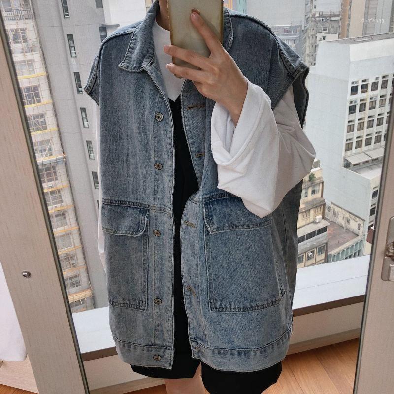 Casual Oversize loose jean vest coat women Basic cool denim sleeveless jacket female Streetwear vintage waistcoats big pocket1