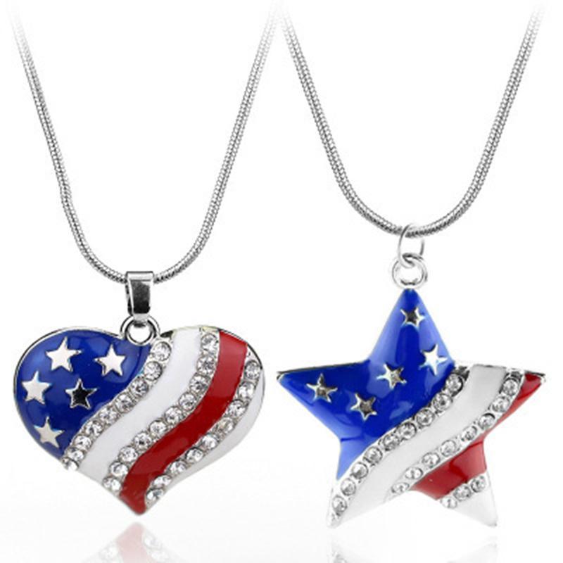 Herzförmige Flagge Anhänger Charms USA Amerikanische Flagge Kristall Halskette und Amerikanische Flagge Pentagram Halskette Die alte Glory Halskette Geschenk