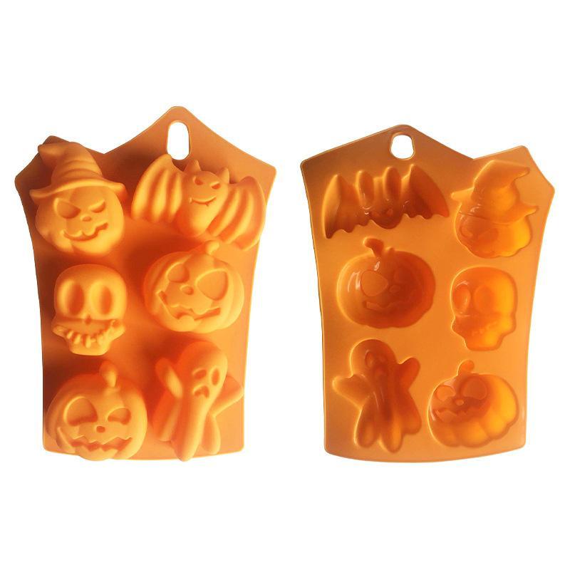 실리콘 오렌지 초콜릿 금형 할로윈 DIY 퐁당 사탕 금형 해골 호박 박쥐 실리콘 쿠키 초콜릿 베이킹 금형 BWD2528