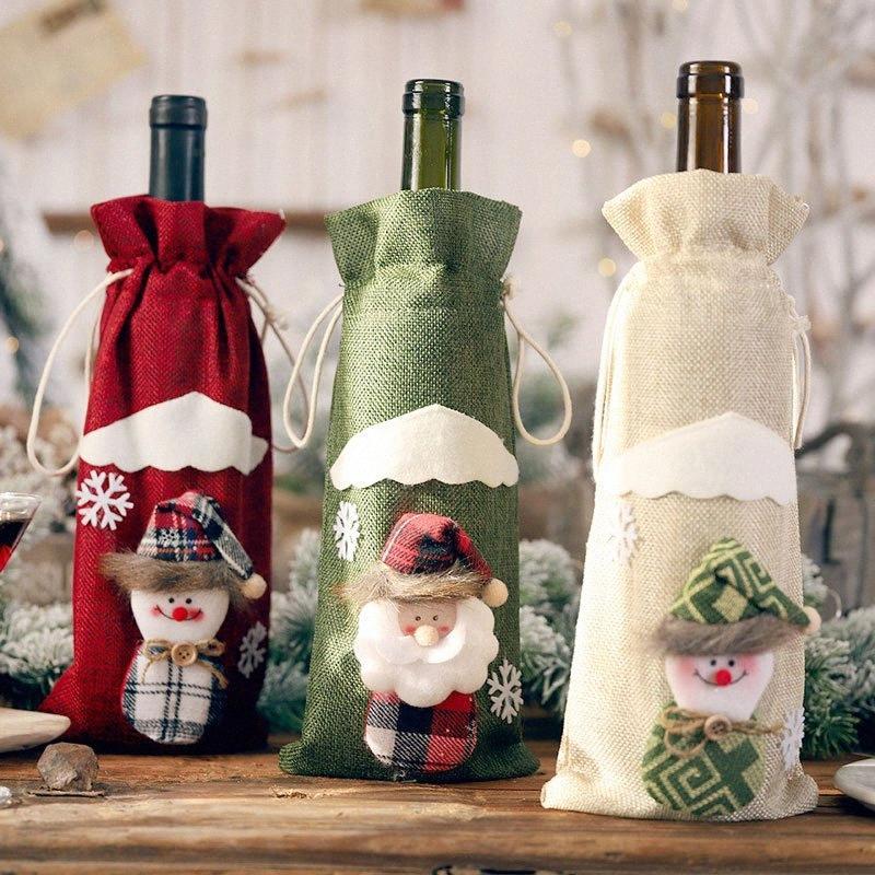 Nouvel An Navidad 2019 Bouteille de vin de Noël Décorations de Noël Dust Cover Noël pour la maison Noel Deco Natal Dinner Party Décor Grand Ch bYmJ #