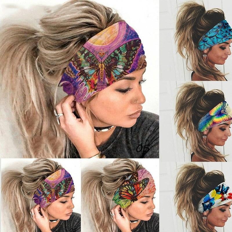 6 ألوان مصمم النساء اليوغا الرياضة العصابة الفراشة الملونة مطبوعة على نطاق واسع العصابات الشعر لياقة بدنية خارجية اكسسوارات للشعر