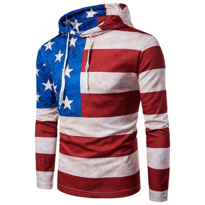 USA American Flag Felpe con cappuccio Hot Maschio Pullover manica lunga con cappuccio Uomo T-Shirts Hoody di modo di marca abbigliamento hip hop