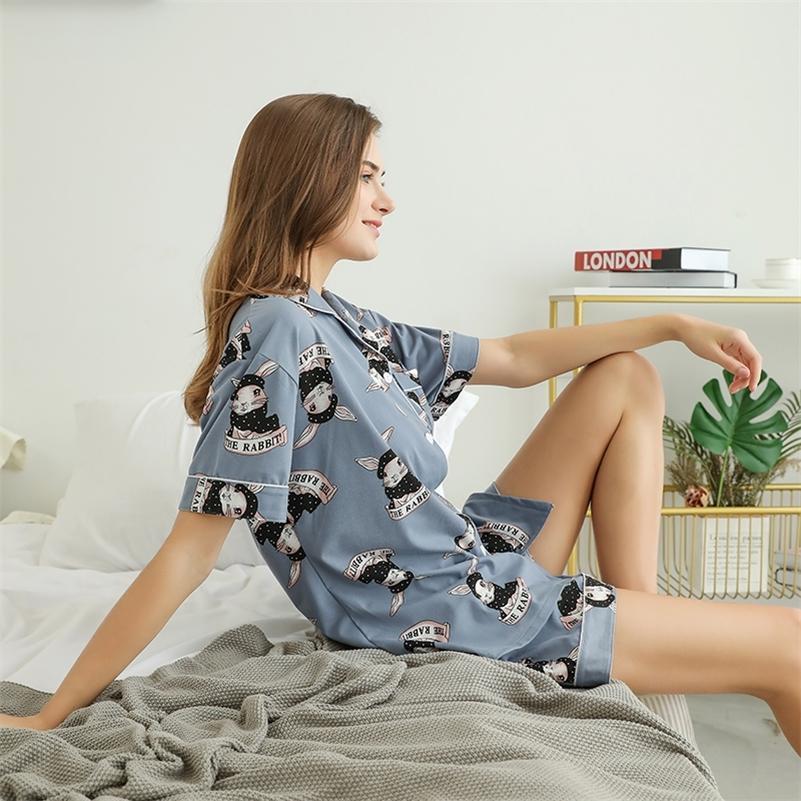 Plus taille 2XL-4XL Pyjamas Ensemble de vêtements de vêtement de nuit de lapin mignon Lingerie Ensemble de vêtements courts Sous-vêtements de petite taille Vêtements de nuit
