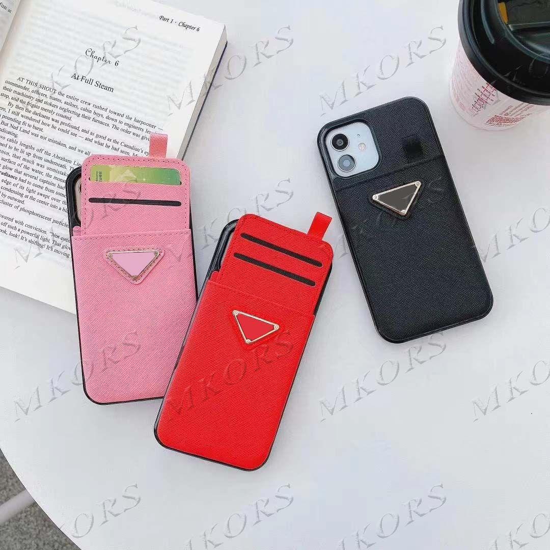 بطاقة جيب مصمم مثلث حالة الهاتف آيفون 12 12Pro 11 برو x xs ماكس xr 8 7 زائد جودة عالية غطاء الجلد قذيفة