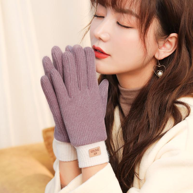 Inverno cationico Tessuto a maglia guanti da donna Self-riscaldamento Touch Screen Gloves Full Finger addensare Warm Moisturizer