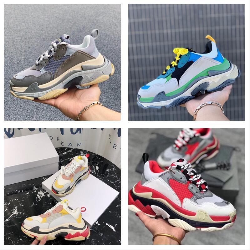 NEUE PARIS Hohe Qualität 17FW Triple-S Casual Schuhe Designer Männer und Frauen Casual Schuhe Hohe Qualität Mischfarbe Dicke Ferse Schuhe