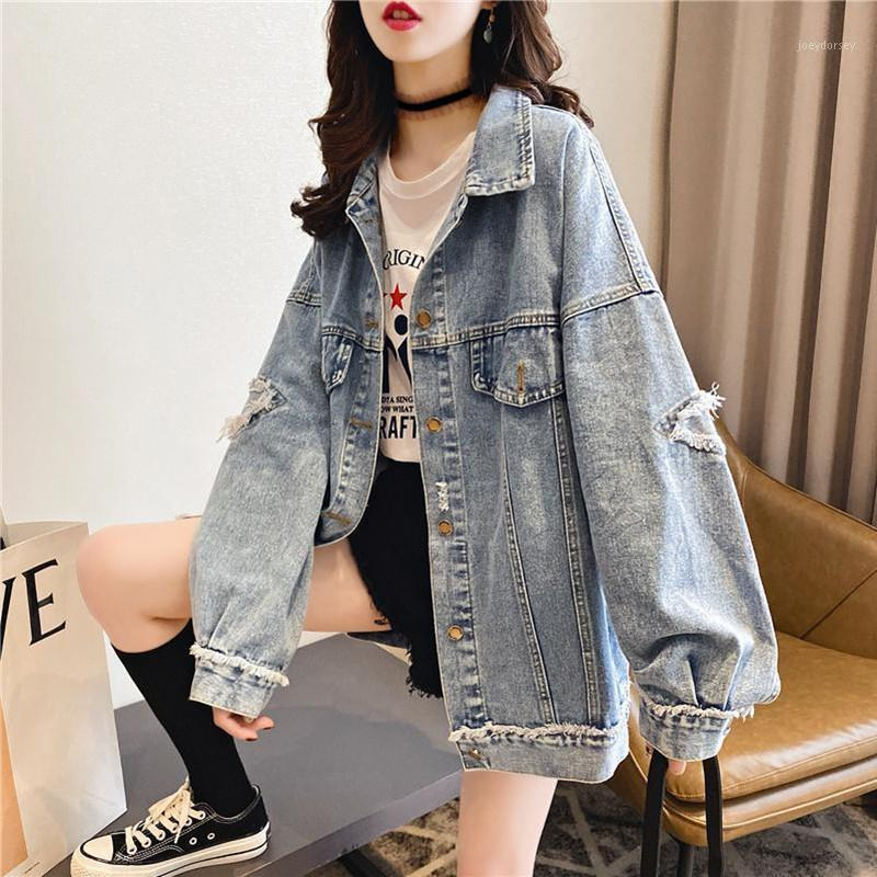 Casual Women Denim Jacket Loose Style Ripped Streetwear Autumn Bomber Jacket Harajuku Jeans Plus Size Female Coats 20201