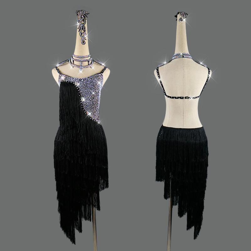 무대 착용 블랙 라틴 댄스 드레스 여성 성능 의류 빛나는 모조 다이아몬드 섹시한 Fringed 백리스 드레스 사용자 정의 크기