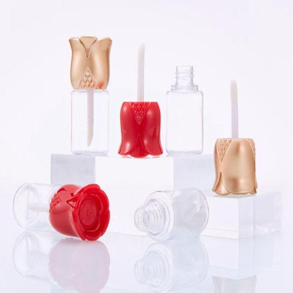 New 15ml flor rosa lábio DIY esmalte batom tubo de injecção de tubo vazio tubo de gloss transparente lábio