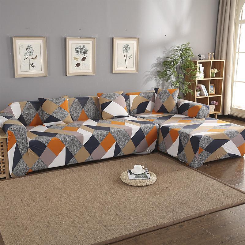 Coperchio di divano Set di divano Geometric Cover Cover Elastico Divano per soggiorno Animali domestici Corner L Chaise Longue Longue 215 J2