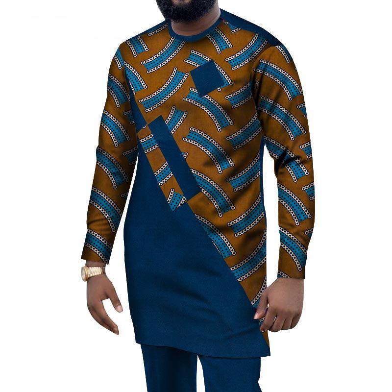 2021 homens africanos teria roupas das dashiki cópia camisas tops + calças longas com bolsos 2 peça conjunto Ankara Outfit blusa wyn1004