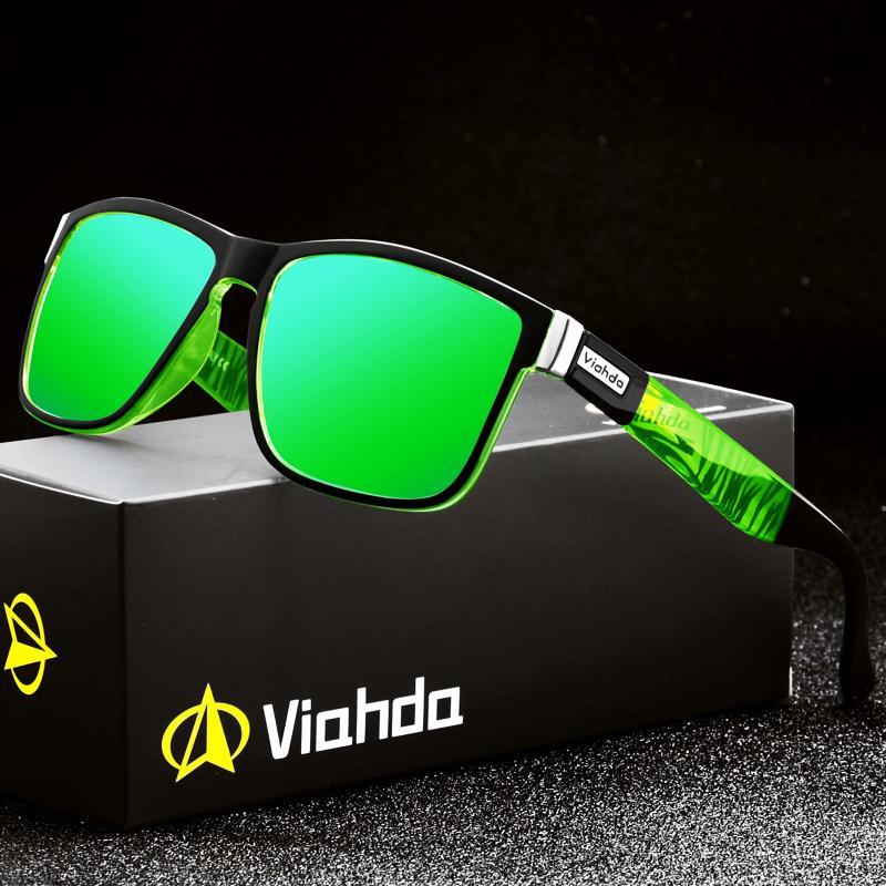 Viahda Marque Hommes Sun Sunglasses Sunglasses Conduite Pour Femmes Design Verres Oculos pour Thapes Spuare Polarized Summer Miroir UV400 LPSBQ