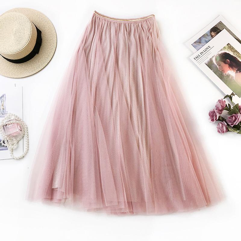 2021 Nouveau Sherhure Summer Mesh Jupes à maille haute A-Line Rose Midi Jupe Femme Femme Jupe longue Saia K1WG