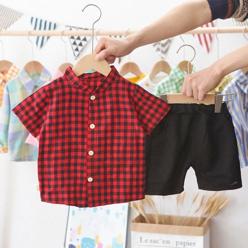 صبي جولة الرقبة البدلة الصيف ملابس الأطفال الأطفال بأكمام قصيرة أسود أحمر شعرية أعلى + السراويل الصبي الزي الملابس 2020 TQBS #