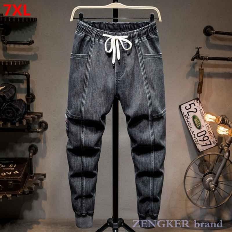 Pantaloni ad autunno da uomo Pluss 5xL Pantaloni allentati Harem Pantaloni elastici elastici Pantaloni da uomo Jeans Brand