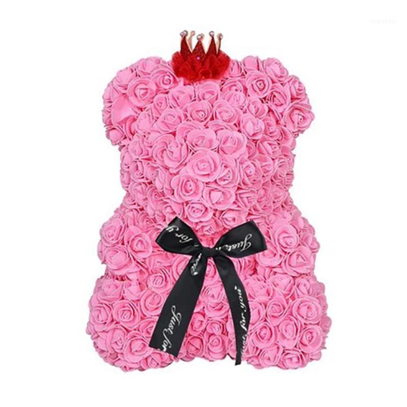 Декоративные цветы венки 25см медведь роз Teddy с короной свадьбы фестиваль DIY неожиданный подарок для девушки любовника1