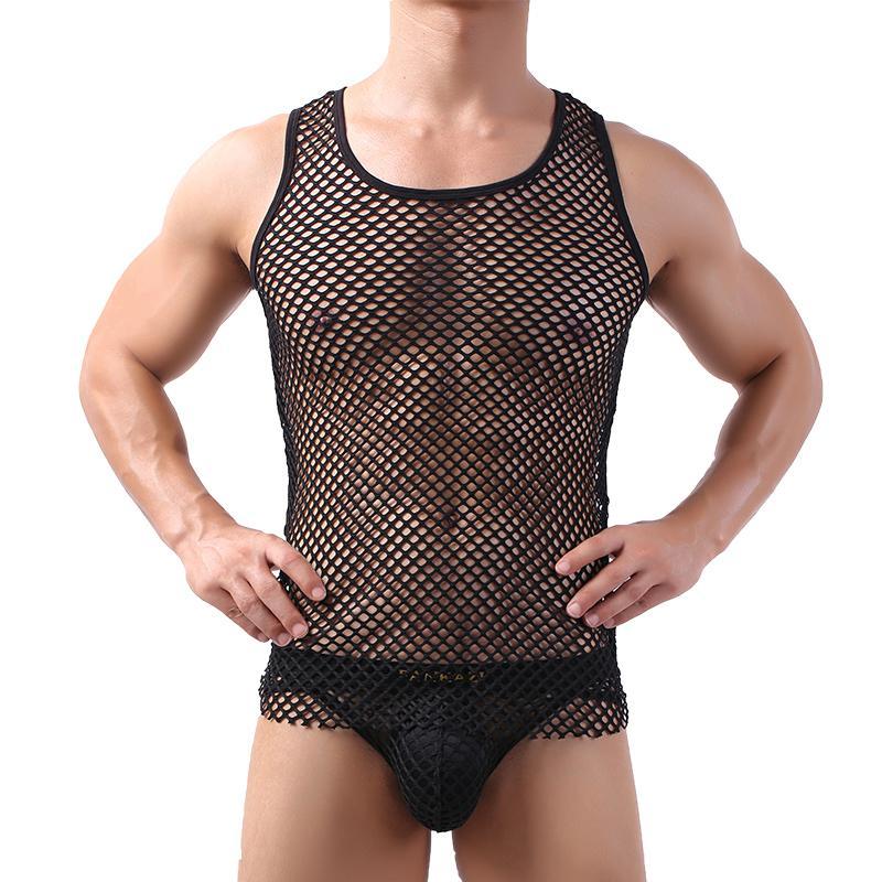 Sexy Mens Undershirts Sets Mesh Transparent Tank Tops Briefs Fishnet Underwear Suits Sleepwear Casual Sleeveless Shirts Panties