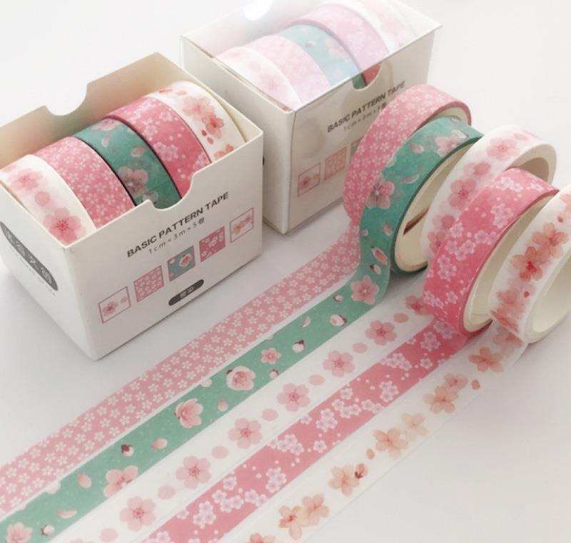 Office adhésif PCS / Pack 2016 Fourniture Masking Masking Washi Ruban de bande colorée décorative 5 Scrapbooking rayé // Étiquette de fleurs Sticker SQCRI