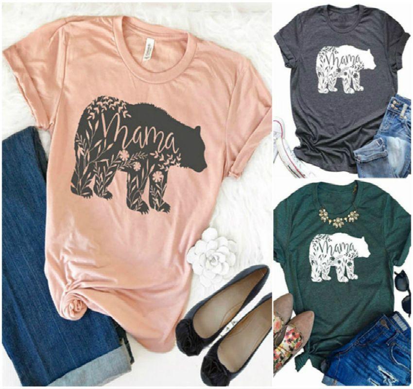 Nieuwe Dameskleding T-shirt Mama Bear Print Korte Mouw Zomer Dame T-shirt 4 Kleuren
