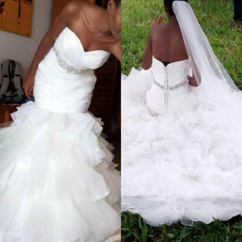 Африканский Белый Плюс Размер Свадебные платья Русалка Милая 2021 Pleat многоуровневого оборками Кристалл Sash Труба Свадебные платья