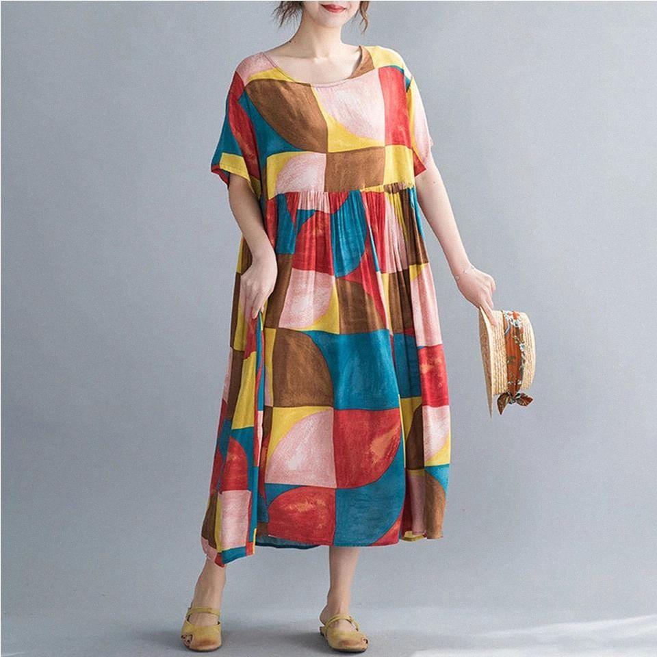 Supermiss donne abiti estivi abiti vintage tunica baggy patchwork plaid femmina vestido casual vacanza maxi boho sundresses plus size # md1h