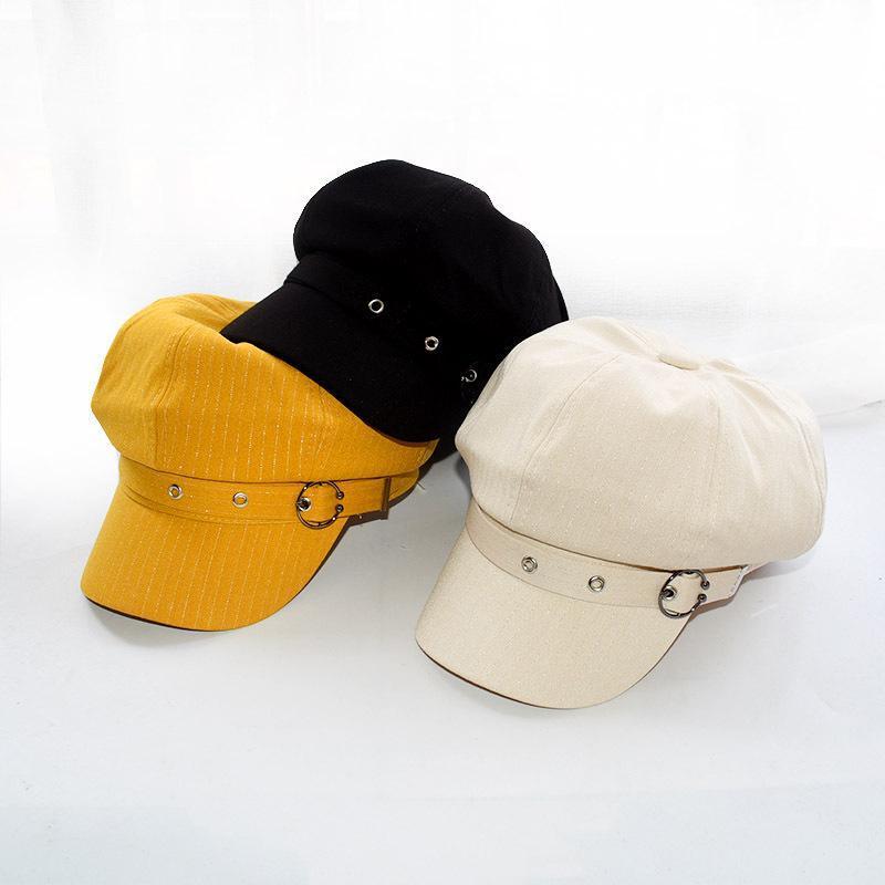 Berets Fashion Jesień Winter Hat Kobiety ośmiokątne Czapka Beret Paski Retro Francuski Artysta Malarz Kapelusze Czarny Brązowy