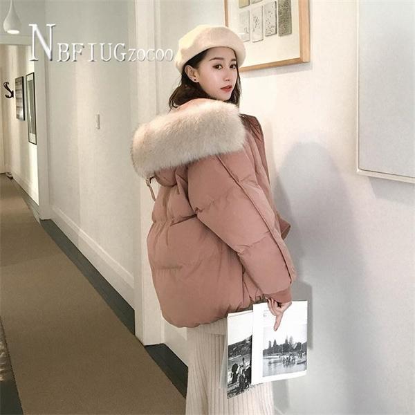 White Black Blue Pink Color Women Parkas Faux Fur Hooded Female Warm JacketX1016