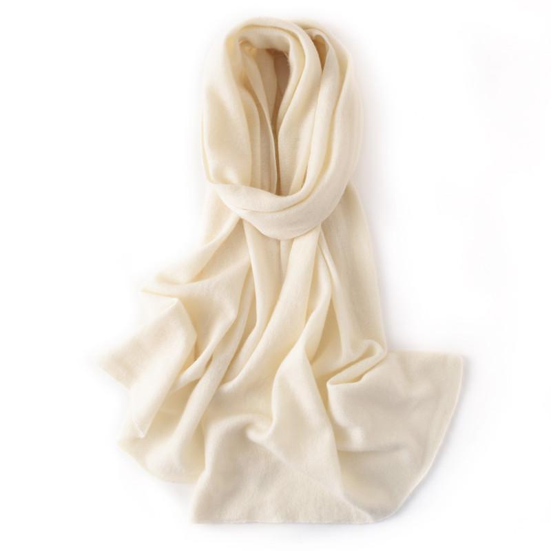 Cashmere Eşarp Kadınlar Sonbahar Kış Yün Kaşmir Eşarp bayanlar Beyaz Bej Yumuşak Sıcak Örme Femme