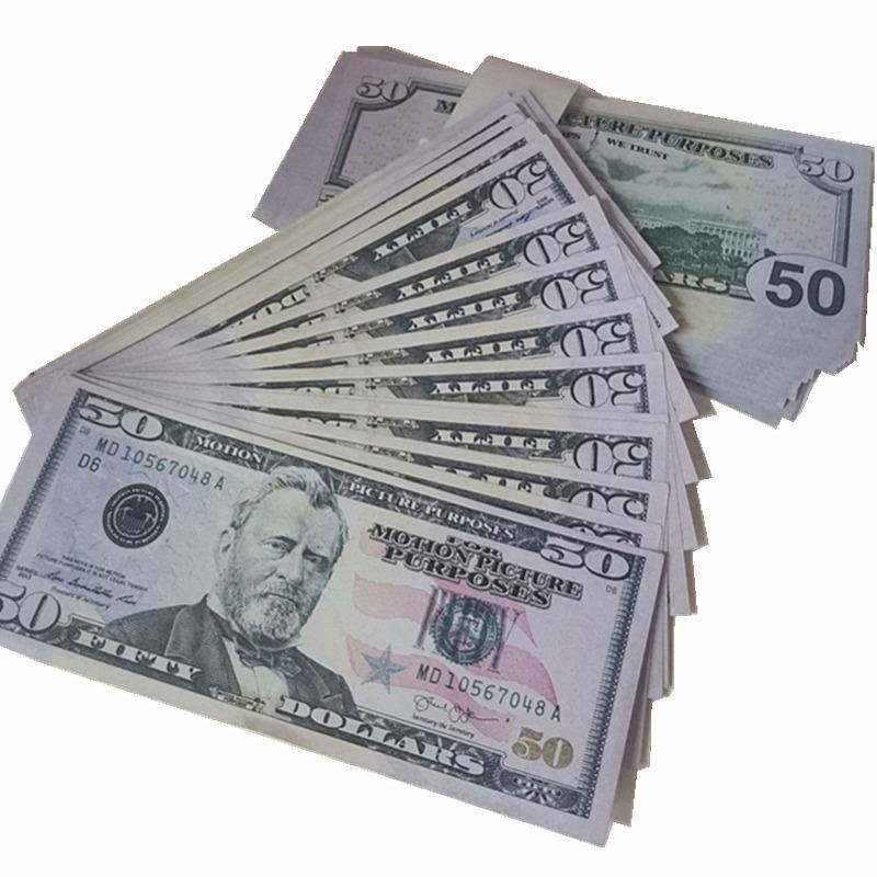 Film Quality Money Billette Faux Money Billet Dollars 50 Money Atmosphère L Fake Dollars Bar Vente en gros Discothèque Play Prop Top GCVLS Cra Jixh