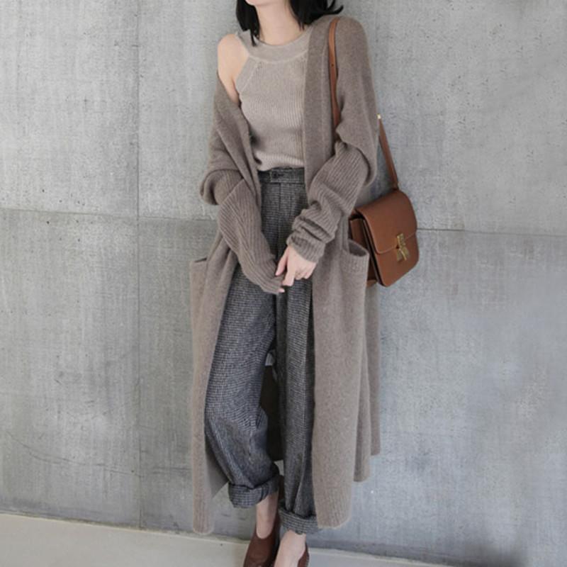 Harajuku Cardigan Herbst Art und Weise lange stricken Frauen-beiläufige Taschen-Thick-lose Strickjacke-Jacken-Mantel Winter-Outwear