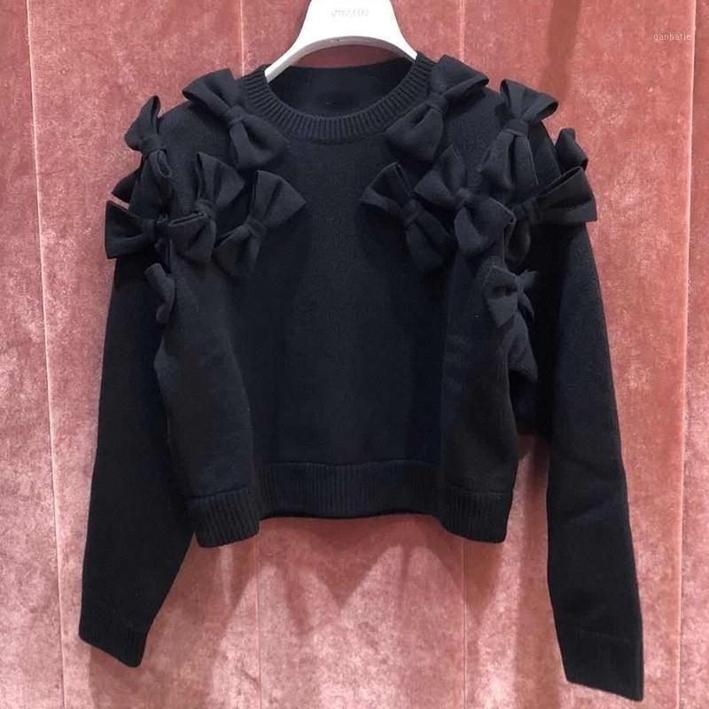 Женские свитеры 2021 Женщины вязаный свитер леди о-шеи с длинным рукавом бабочки декор двор трикотажные женские пуловерные топы дикие стильные1