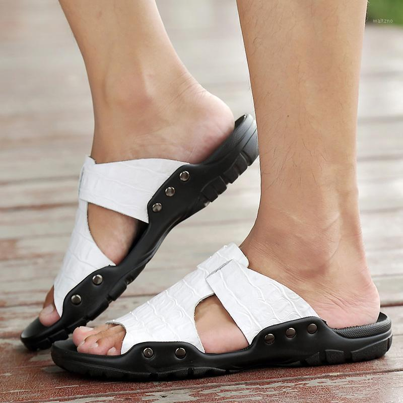 Big Size 45-52 Mens Sandals Summer Split Leather White Mans Footwear Slip-On Cozy Rubber Sole Beach Shoes For Men Fashion1