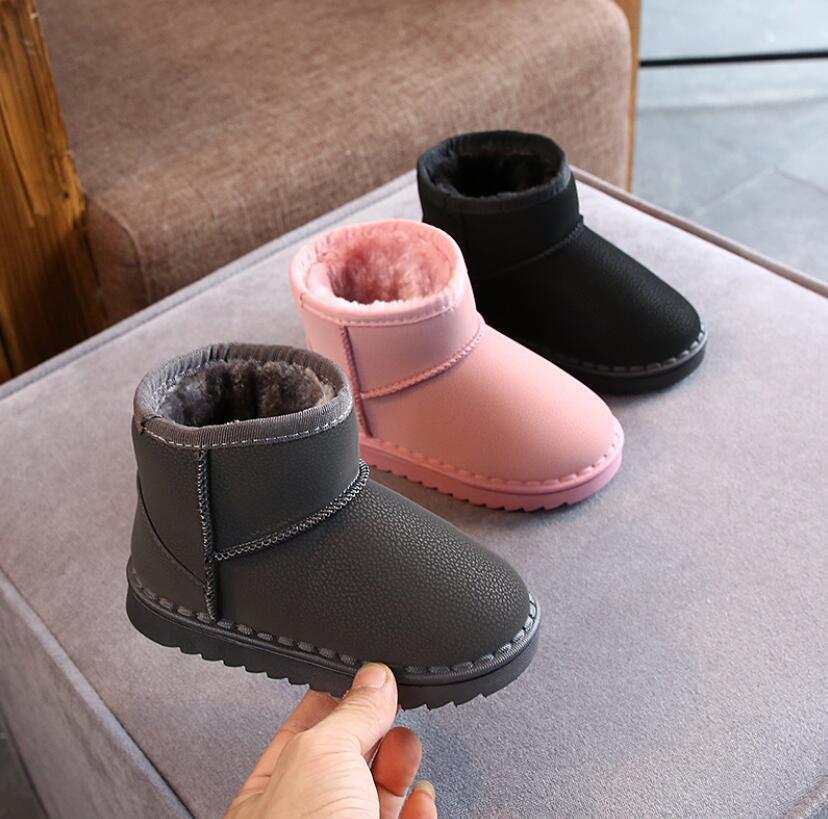 2020 Новые дети зимняя принцесса толстые плюшевые кроссовки нескользящая плоская круглая голова девушка младенца теплые сапоги Martin дети снежные ботинки